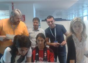 Sul set 'La casa dello Sport' con Zlatan Ibrahimović .