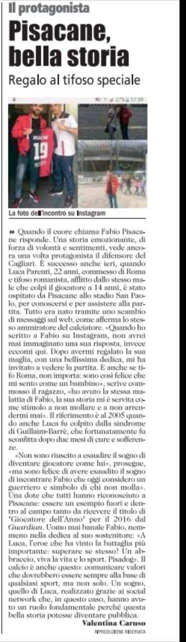 Unione Sarda parla della storia di Fabio Pisacane,