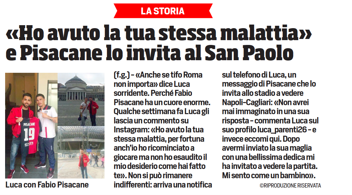 Il Corriere dello Sport parla dell'iniziativa di Fabio Pisacane.