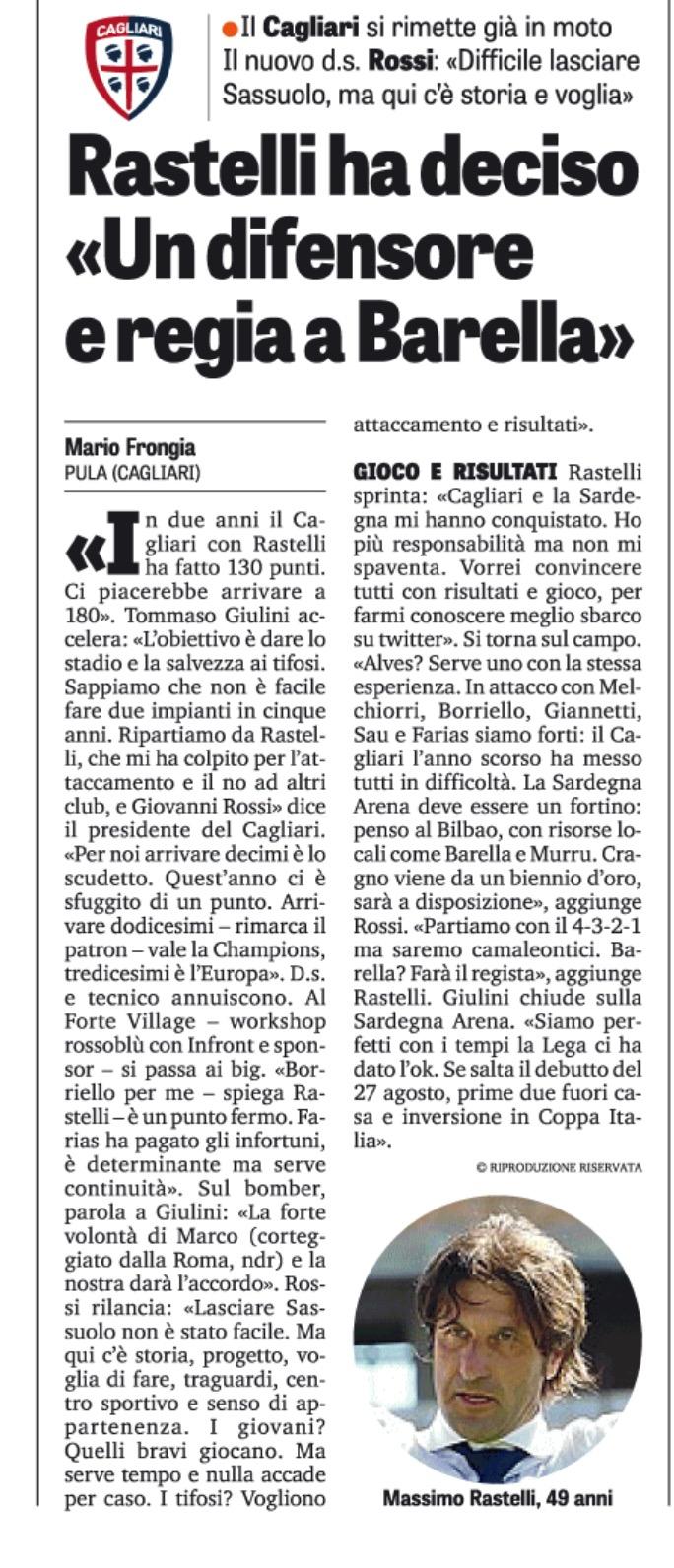 La Gazzetta dello Sport del 13/06/2017 parla del lancio social di Massimo Rastelli.