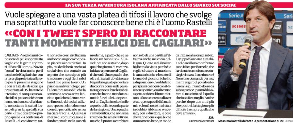 Corriere dello Sport del 13/06/2017 parla del lancio social di Massimo Rastelli.