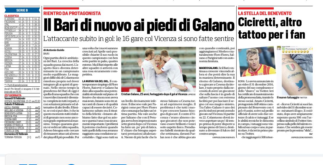 Corriere dello Sport del 07/02/2017.